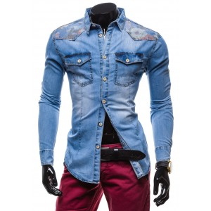 Rifľová pánska košeľa so vzormi na ramenách