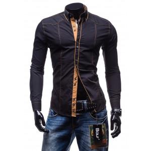 Trendy pánska hnedá košeľa s dlhým rukávom