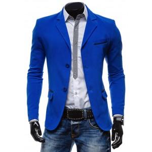 Extravagantné pánske sako sýto-modrej farby