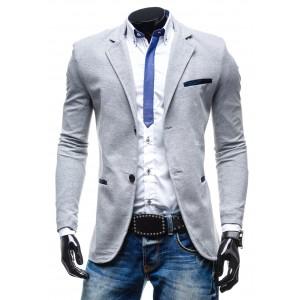 Sexi pánske sako šedej farby s dvojitým zapínaním