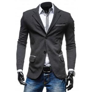 Trendy pánske sako antracitovej farby so sivým lemovaním