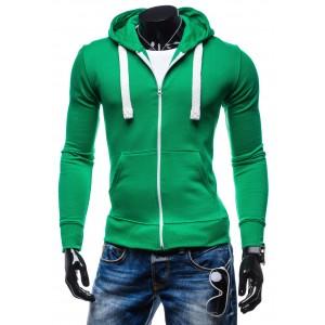 Moderné mikiny pre chlapov zelenej farby s kapucňou a bielymi šnúrkami