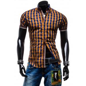 Športové pánske košele hnedej farby s krátkym rukávom