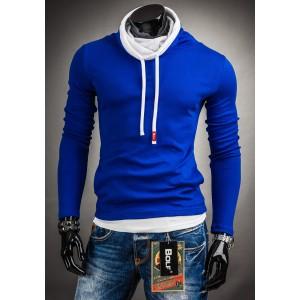 Pánske trendy mikiny bez kapucne sýto-modrej farby