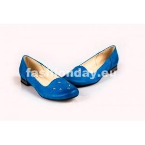 Dámske kožené balerínky modre DT038