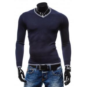 Štýlový pánsky sveter sýto-modrej farby s bielym lemovaním