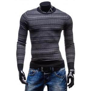 Moderný a trendy pánsky sveter sivo-čiernej farby s pruhmi