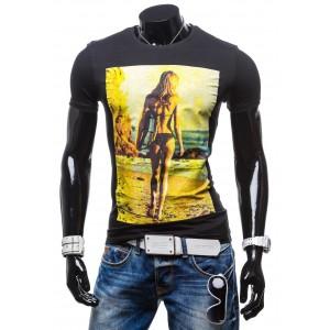 Moderné pánske tričká čiernej farby s potlačou ženy