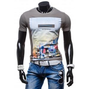 Moderné pánske tričko s potlačou čiernej farby a motívom mesta