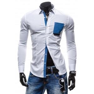 Sexi pánska slim fit košeľa bielej farby s vreckom
