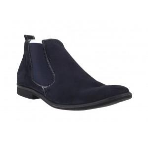 Pánske členkové zamatové topánky modrej farby
