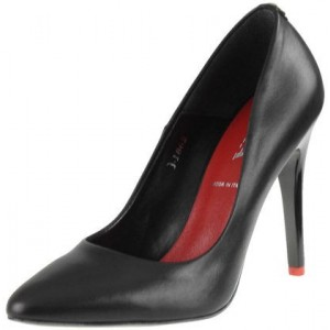 Trendové dámske lodičky čiernej farby s vysokým podpätkom