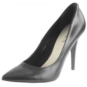 Spoločenská dámska obuv v tmavo-sivej farbe s ostrou špičkou