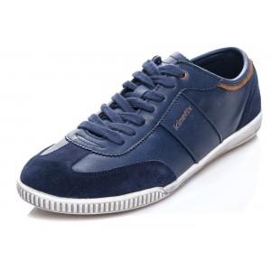 Šnúrovacie pánske topánky modrej farby s bielou podrážkou a semišovou špičkou