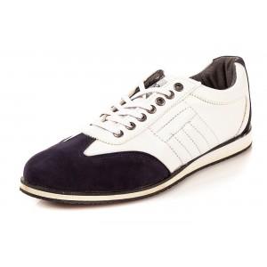 Elegantná pánska obuv bielej farby s hnedou semišovou špičkou