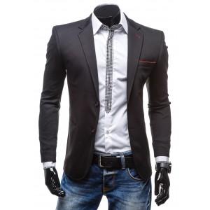 Pánske čierne sako s červeným lemovaním vhodné pre každého biznismena