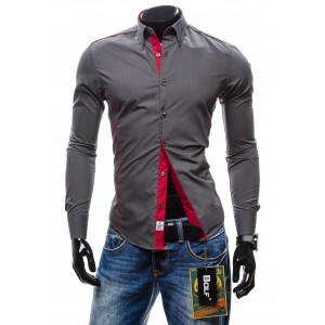 Elegantná sivá pánska košeľa s dlhým rukávom
