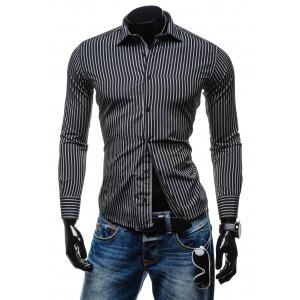 Čierna pásikavá pánska košeľa s dlhým rukávom