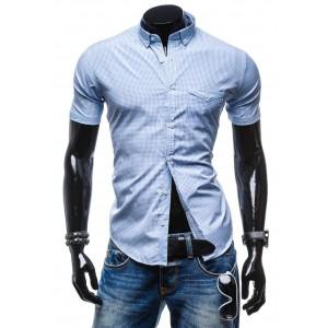 Moderná kockovaná košeľa s krátkym rukávom svetlo modrej farby