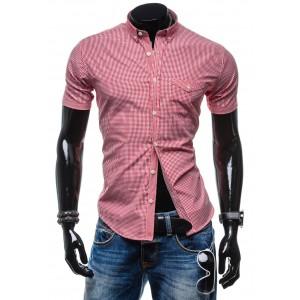 Štýlová červená košeľa s kockovaným vzorom za skvelú cenu