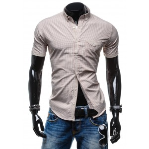 Atraktívna pánska košeľa hnedej farby s kockovaným vzorom