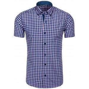 Štýlová pánska košeľa modrej farby s kockovaným vzorom