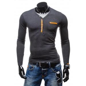 Pánske tričko s dlhým rukávom tmavo sivej farby