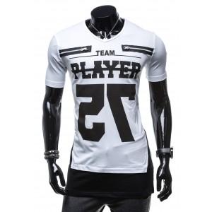 Športové pánske tričko bielej farby s čiernym nápisom PLAYER 75