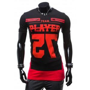 Športové pánske čierne tričko s červeným nápisom PLAYER 75