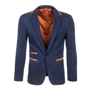 Štýlové tmavo modré pánske sako s hnedým lemovaním okolo vreciek