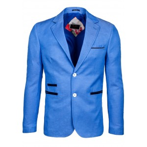Moderné pánske sako na každodenné nosenie modrej farby