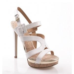 Kožené biele dámske sandále s opätkom