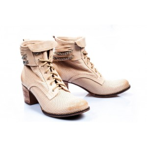 Dámske kožené topánky béžovej farby