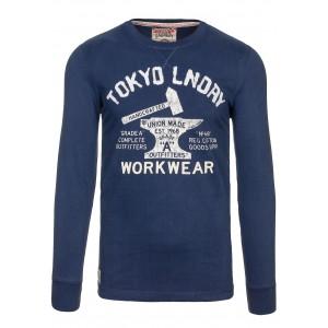 Modré pánske tričko s dlhým rukávom