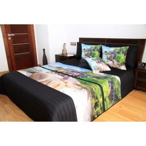 Čierny prehoz na posteľ s prírodou