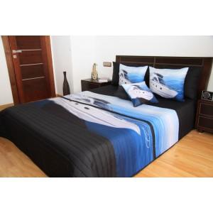Čierny prehoz na posteľ s motívom lode