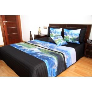Čierny prehoz na posteľ s motívom prírody