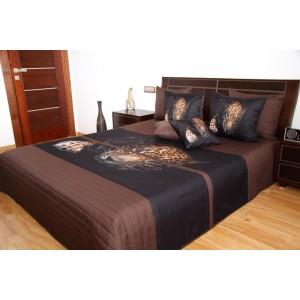 Hnedý prehoz na posteľ so vzorom leoparda
