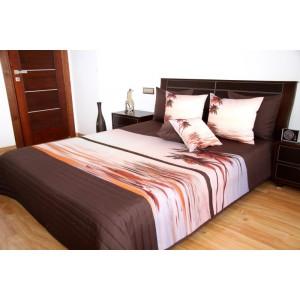 Hnedý prehoz na posteľ so vzorom paliem