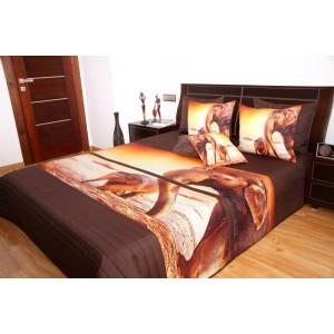Hnedý prehoz na posteľ so slonom