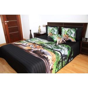 Čierny prehoz na posteľ s tigrom