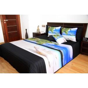 Čierny pehoz na posteľ s motívom pláže