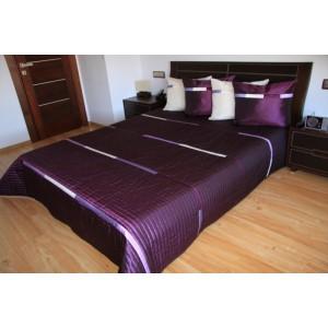 Fialový prehoz na posteľ s pruhmi