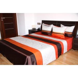 Trojfarebný prehoz na posteľ s ornamentom
