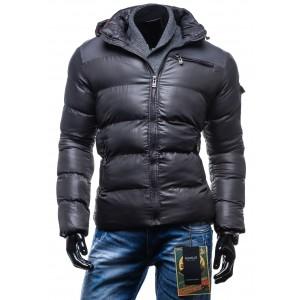 Pánska lesklá zimná bunda čiernej farby