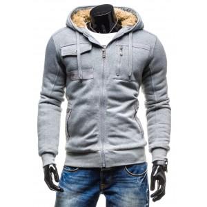 Pánska sivá zateplená bunda na zimu
