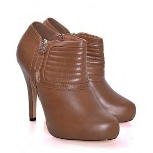 Hnedé jesenné topánky na podpätku