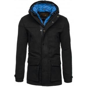 Pánske kabáty s kapucňou čiernej farby