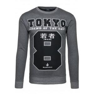 Pánska mikina tmavosivej farby bez kapucne TOKIO