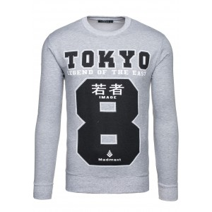 Sivá pánska bunda s motívom čísla 8 a nápisom TOKIO